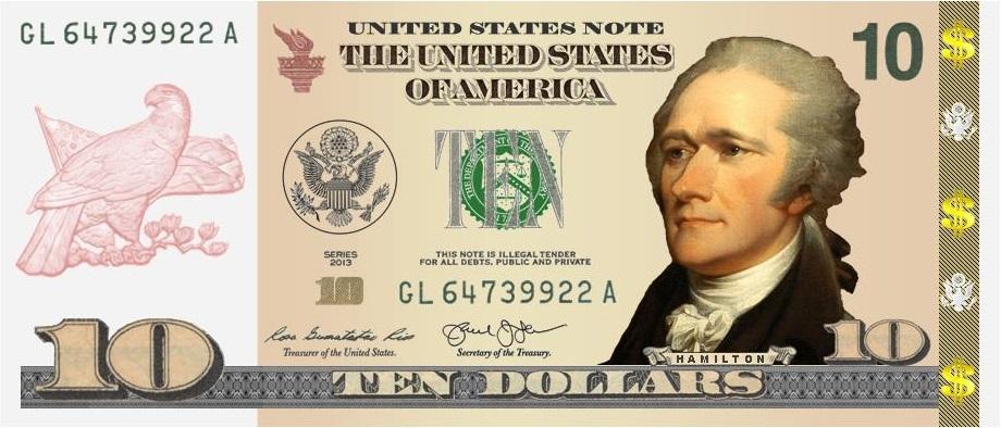 $10 Hamilton Front #1 New